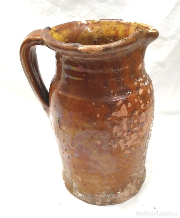 Antigüedades: Jarra medida para Vino de Miravet Teruel, Terracota Barro. Med. 20 cm - Foto 3 - 195467393