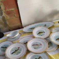 Antigüedades: IMPRESIONANTE VAJILLA ANTIGUA PARA PESCADO PORCELANA FRANCESA IMPECABLE. Lote 195475165