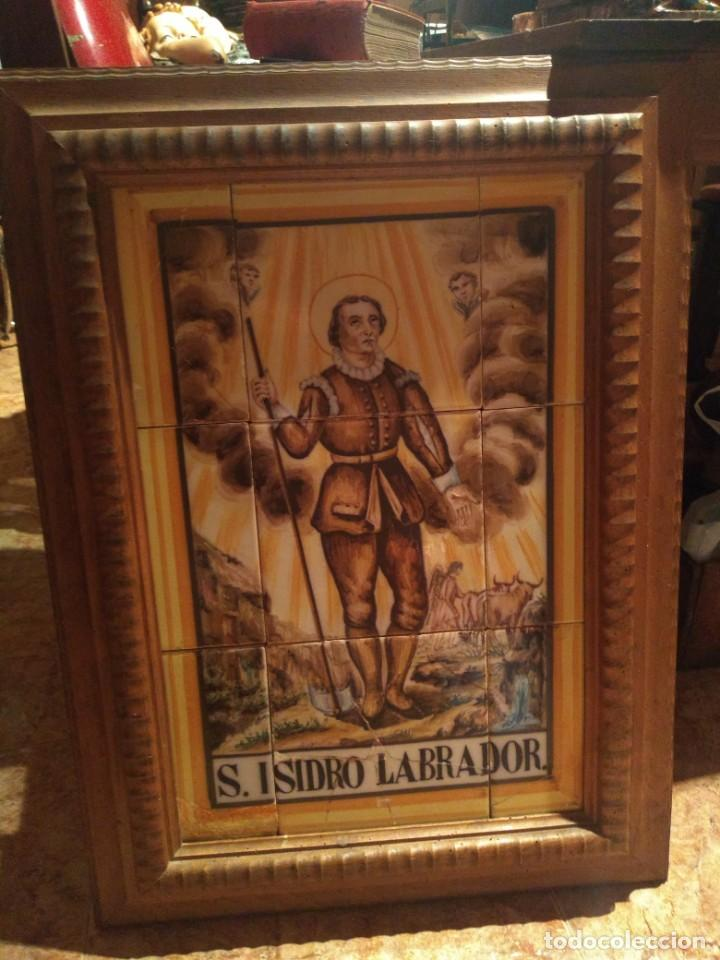 Antigüedades: Antigua cerámica San Isidro Labrador 71x 46 cms - Foto 2 - 195475491