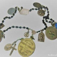 Antigüedades: ANTIGUO ROSARIO CON 15 MEDALLAS VIRGEN MONTSERRAT LOURDES MERCED NURIA DESAMPARADOS VALENCIA 1867. Lote 195476912