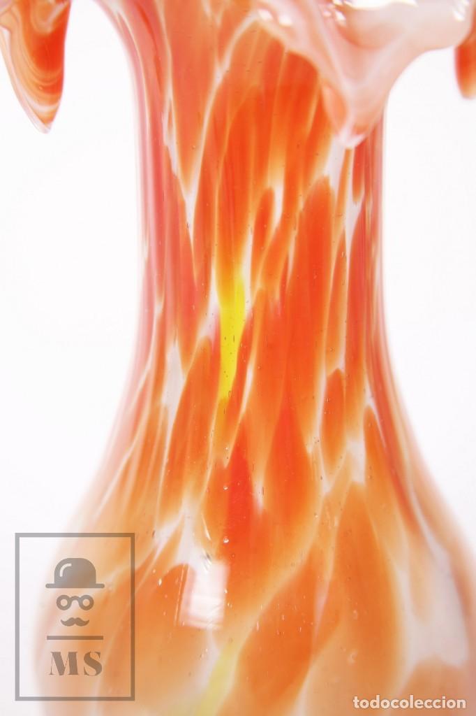 Antigüedades: Jarrón de Cristal de Murano - Naranja, Blanco y Amarillo - Medidas 11 x 11,5 x 21 cm - Foto 6 - 195479370