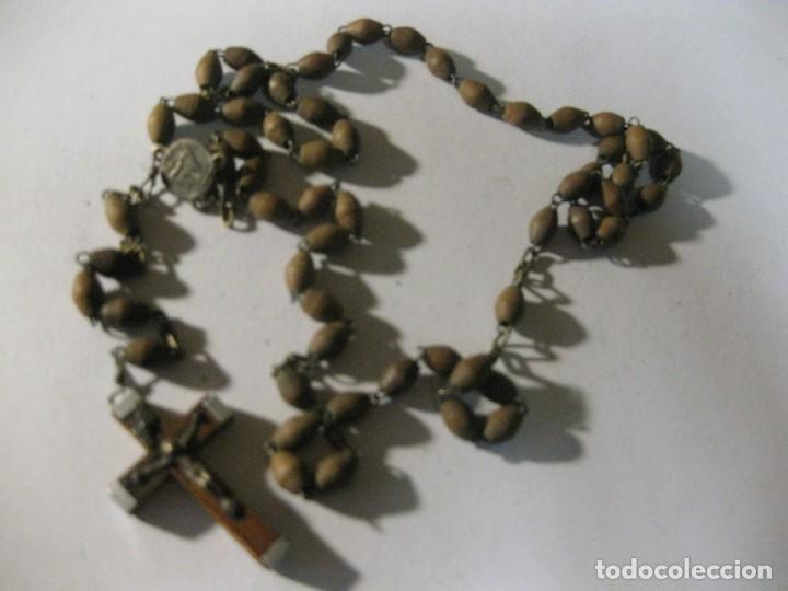Antigüedades: antiguo rosario recuerdo de jerusalem . madera - Foto 2 - 195479641