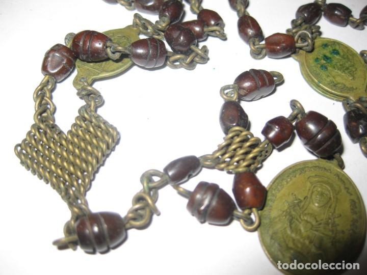 Antigüedades: antiguo rosario con las siete dolores de la virgen mater dolorosa . medalla precioso - Foto 8 - 195480035