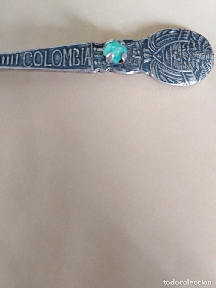 Antigüedades: Cucharilla de Colombia con auténtica esmeralda natural de plata de ley 900 - Foto 2 - 195480582
