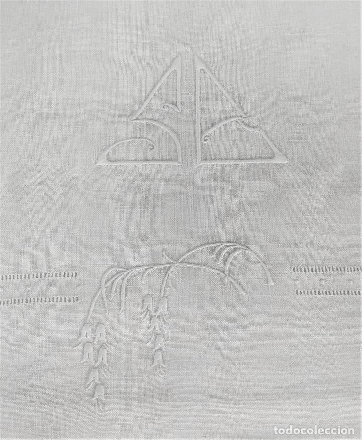 JUEGO DE CAMA DE MATRIMONIO. LINO BORDADO A MANO. BUEN ESTADO. ESPAÑA. CIRCA 1920 (Antigüedades - Hogar y Decoración - Sábanas Antiguas)