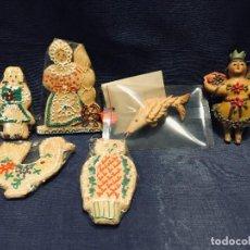 Antigüedades: COLECCION 6 FIGURAS PAN POLICROMADO ECUADOR AUSTRIA COLGAR . Lote 195482385