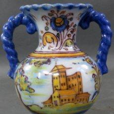 Antigüedades: ÁNFORA CON ASAS TORNEADAS EN CERÁMIDA DE TALAVERA RUIZ DE LUNA SIGLO XX. Lote 195486440