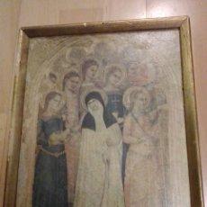 Antigüedades: ANTIGUA LÁMINA RELIGIOSA EN MARCADA SOBRE MADERA. VER DESCRIPCIÓN. Lote 195511500