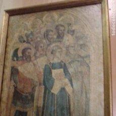Antigüedades: ANTIGUA LÁMINA RELIGIOSA EN MARCADA SOBRE MADERA. VER DESCRIPCIÓN. Lote 195511742