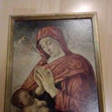 Antigüedades: ANTIGUA LÁMINA RELIGIOSA EN MARCADA SOBRE MADERA. VER DESCRIPCIÓN. Lote 195512066