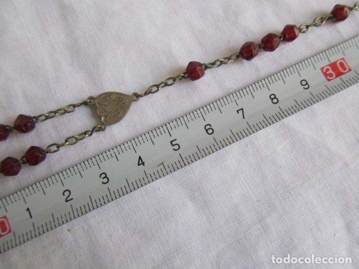 Antigüedades: Rosario cuentas de vidrio rojo, Souvenir de Lourdes - Foto 5 - 195512458