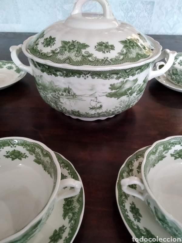 Antigüedades: Maravillosa sopera y cuencos soperos con plato de porcelana alfares de pontisano antigua pontesa - Foto 2 - 195513222