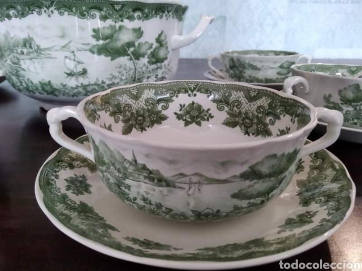 Antigüedades: Maravillosa sopera y cuencos soperos con plato de porcelana alfares de pontisano antigua pontesa - Foto 3 - 195513222