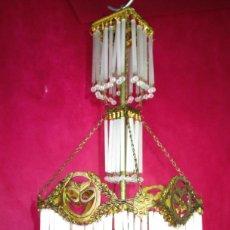 Antigüedades: PRECIOSA LAMPARA ANTIGUA EN BRONCE Y CRISTAL CIRCA 1920 TULIPA MODERNISTA RESTAURADA COMPLETA . Lote 195514548