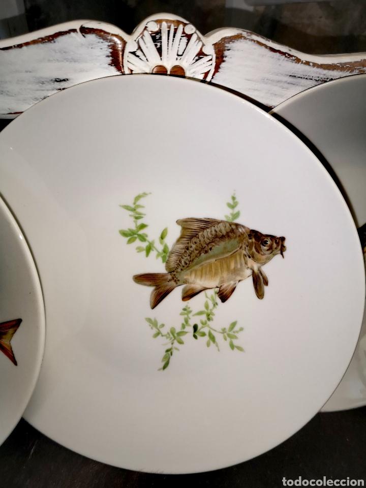 Antigüedades: Juego de platos y bandeja para pescado - Foto 4 - 195516401