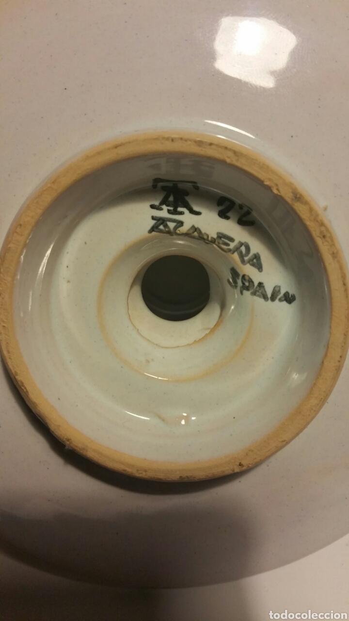Antigüedades: Portavelas de cerámica esmaltada, talavera. - Foto 5 - 195516941