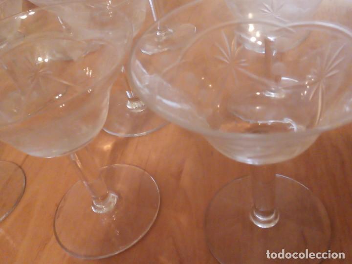 Antigüedades: Copas de coctel años 70. Grabados lagrimas y espigas. Juego 12 - Foto 2 - 195533733