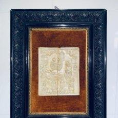 Antigüedades: IMPORTANTE PLACA DE MARFIL TALLADO ESCENA NATIVIDAD ENMARCADA ESCUELA HISPANO - FILIPINA DEL SXVIII. Lote 195550832