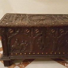 Antigüedades: ARCÓN BAÚL TALLADO. Lote 195550877