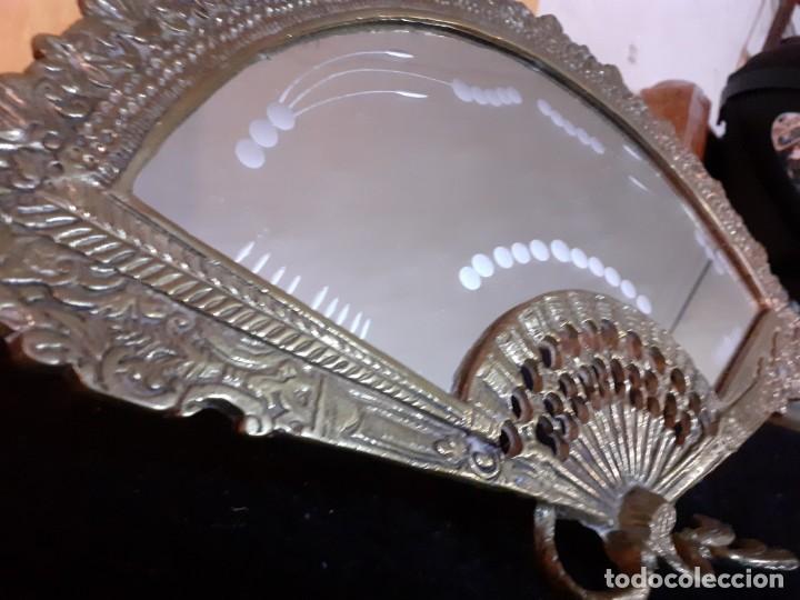 Antigüedades: Espejo bronce abanico cristal al fuego - Foto 3 - 195573457
