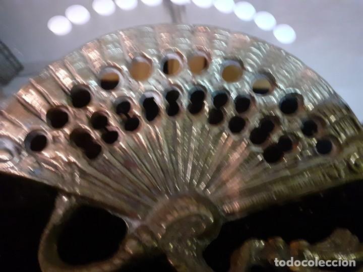 Antigüedades: Espejo bronce abanico cristal al fuego - Foto 4 - 195573457