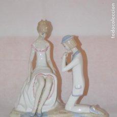 Antigüedades: FIGURA DE PORCELANA FLAUTISTA CON DAMA. Lote 195576238