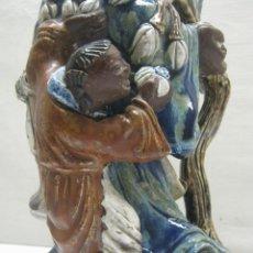 Antigüedades: 46 CM - GRAN FIGURA ANTIGUA FIRMADA - MUDMAN SHIWAN CHINA. Lote 195582255