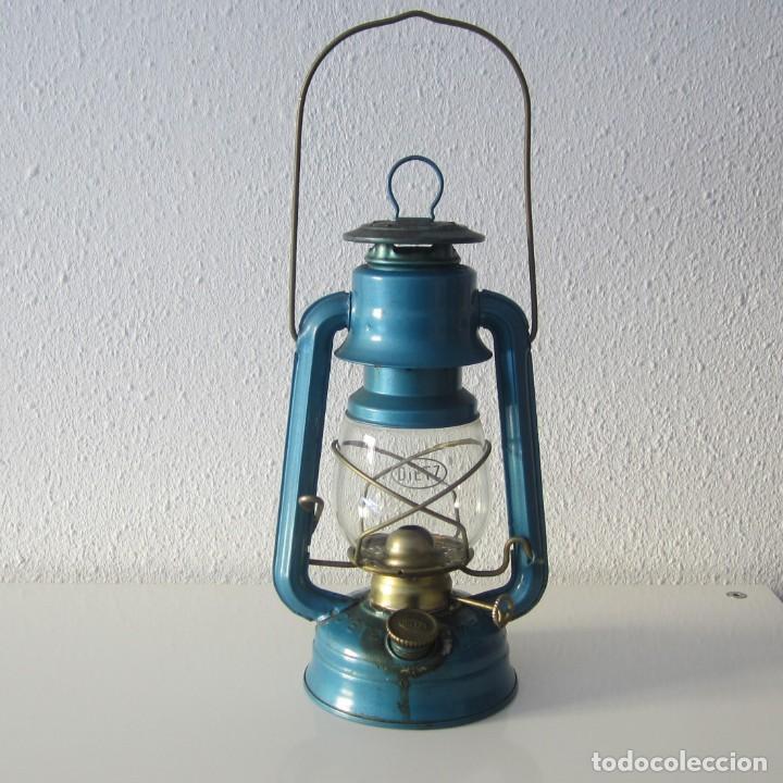 ANTIGUO FAROL DIETZ 76 THE ORIGINAL AZUL LAMPARA DE PARAFINA CANDIL QUINQUE (Antigüedades - Iluminación - Faroles Antiguos)