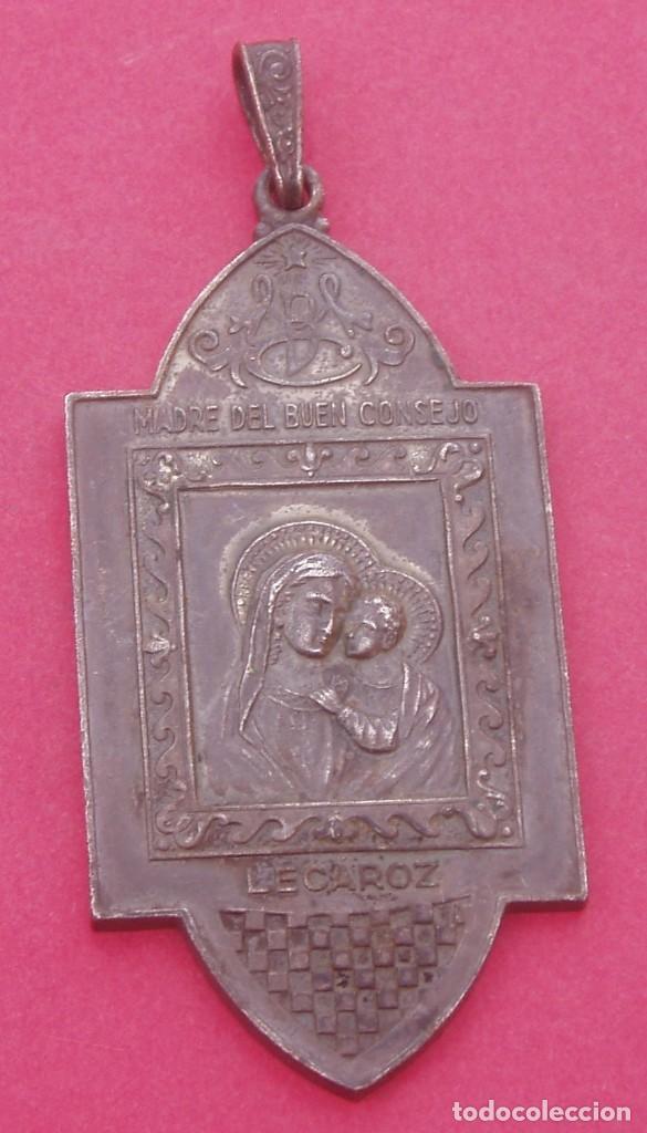 MEDALLA ANTIGUA VIRGEN DEL BUEN CONSEJO Y SAN FRANCISCO DE ASÍS. LECÁROZ. BAZTÁN. NAVARRA. (Antigüedades - Religiosas - Medallas Antiguas)