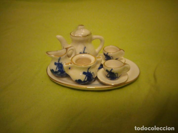 Antigüedades: pRECIOSO SERVICIO DE CAFE DE PORCELANA DELFT,MINIATURA PARA VITRINA - Foto 2 - 195671828