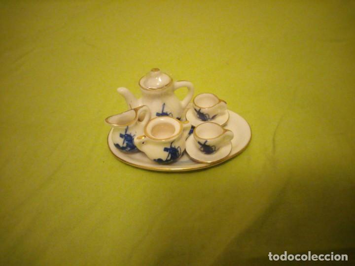 Antigüedades: pRECIOSO SERVICIO DE CAFE DE PORCELANA DELFT,MINIATURA PARA VITRINA - Foto 3 - 195671828