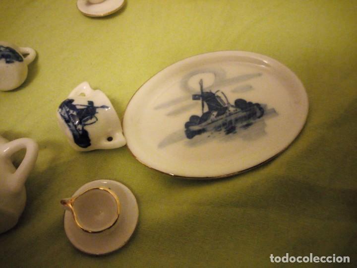 Antigüedades: pRECIOSO SERVICIO DE CAFE DE PORCELANA DELFT,MINIATURA PARA VITRINA - Foto 5 - 195671828