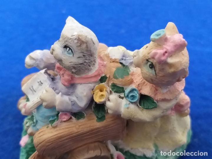 Antigüedades: Figura de gatos. Altura 6 cm - Foto 4 - 195684888
