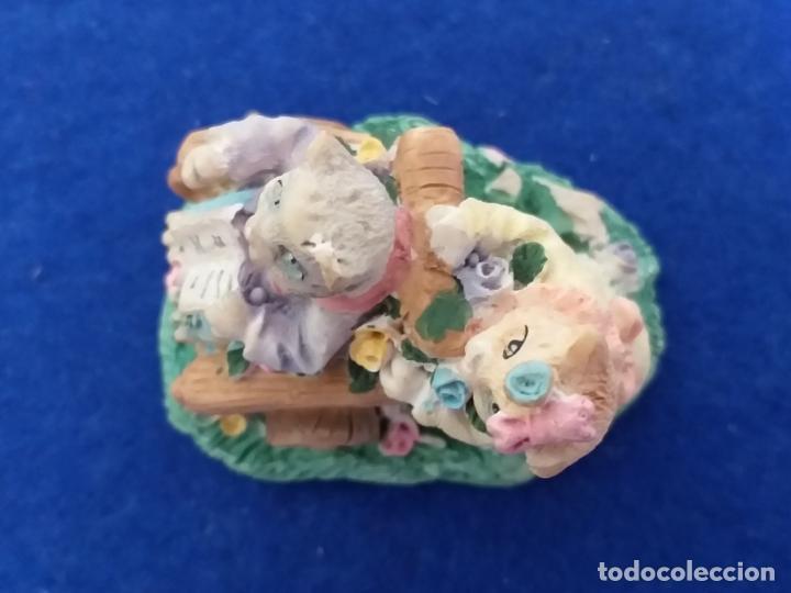Antigüedades: Figura de gatos. Altura 6 cm - Foto 6 - 195684888