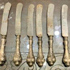 Antigüedades: JUEGO DE 6 CUCHILLOS CON EMPUÑADURA DE PLATA 925. Lote 195704015