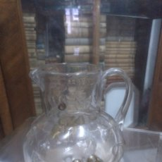Antigüedades: JARRA DE CRISTAL DE CARTAGENA PINTADA A MANO. Lote 195759183