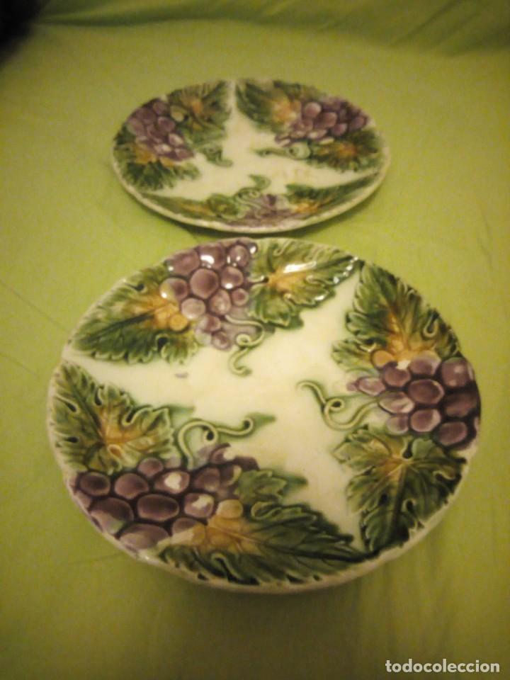 Antigüedades: Antiguos platos en cerámica Mayolica ,siglo XIX oprincipios del XX, - Foto 2 - 195788752