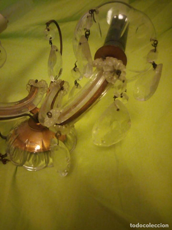 Antigüedades: Antiguo aplique de cristal 2 luces. - Foto 5 - 195798077