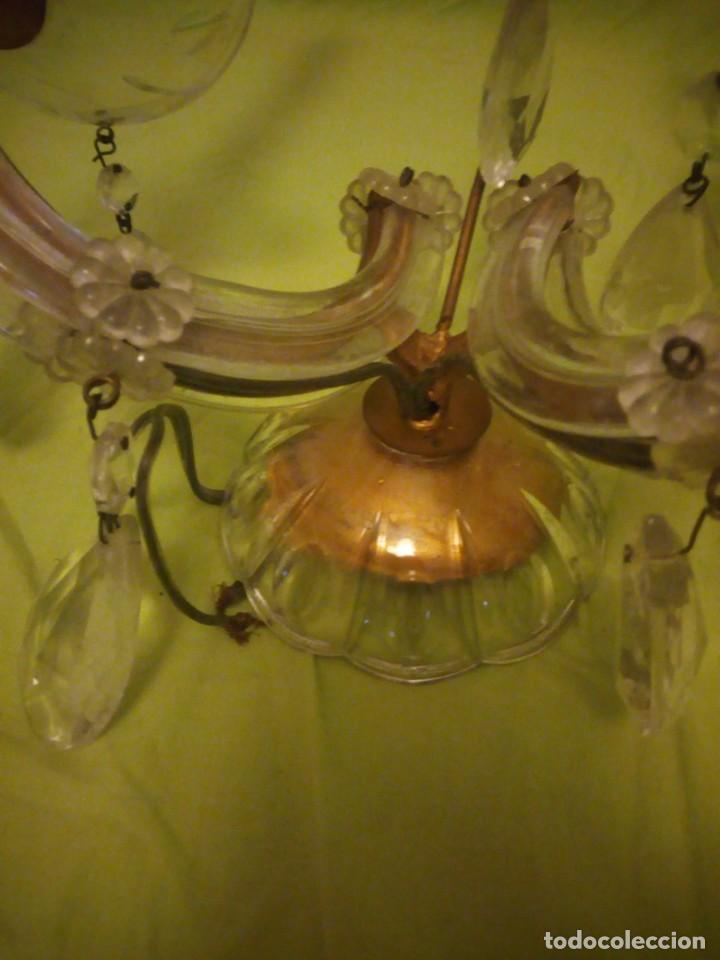 Antigüedades: Antiguo aplique de cristal 2 luces. - Foto 6 - 195798077