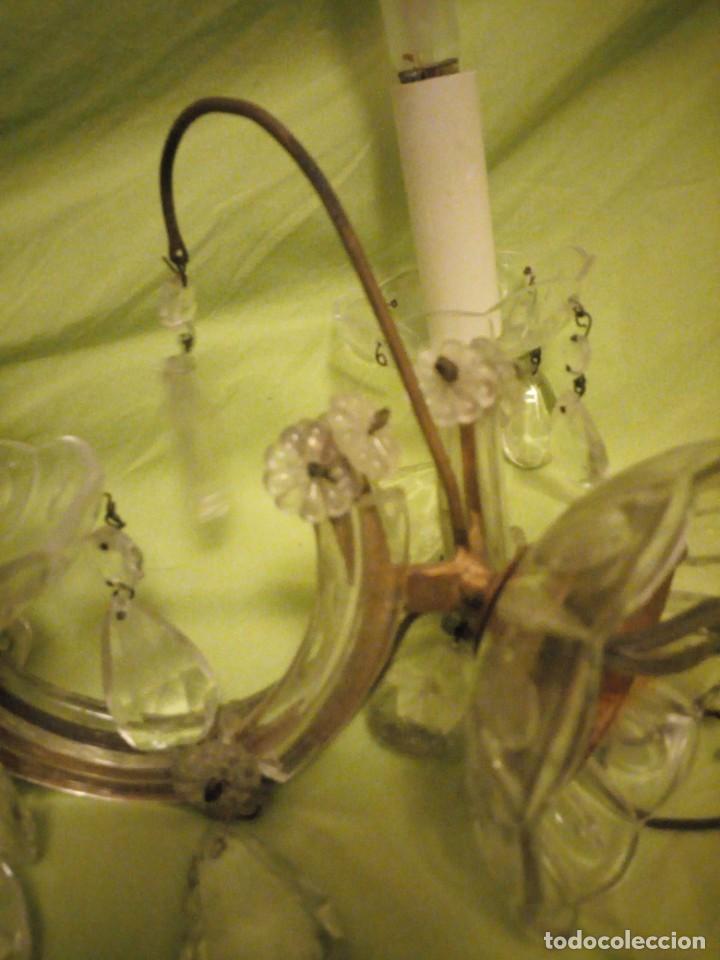 Antigüedades: Antiguo aplique de cristal 2 luces. - Foto 10 - 195798077