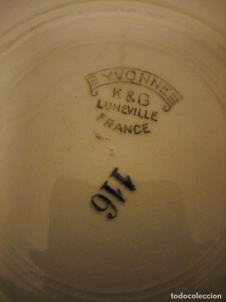 Antigüedades: Antiguo plato tartero de ceramica ivonne k&g luneville france,finales del siglo xix - Foto 5 - 195798272