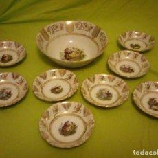 Antigüedades: PRECIOSO SERVICIO DE POSTRE COMPUESTO DE FUENTE Y 8 CUENCOS DE PORCELANA BAVARIA GERMANY.. Lote 195800831