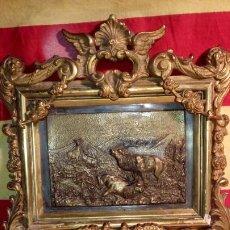 Antigüedades: CUADRO CAZA - METAL .. Lote 195805328