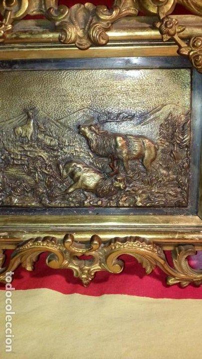 Antigüedades: CUADRO CAZA - METAL . - Foto 2 - 195805328