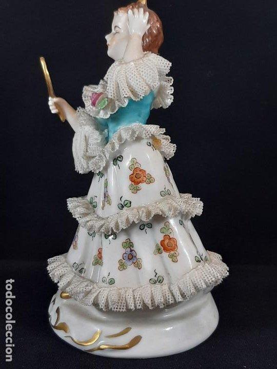 Antigüedades: Bailarina. Porcelana. Vestido puntillas. Dresden. Alemania. Siglo XIX-XX. - Foto 2 - 195814425