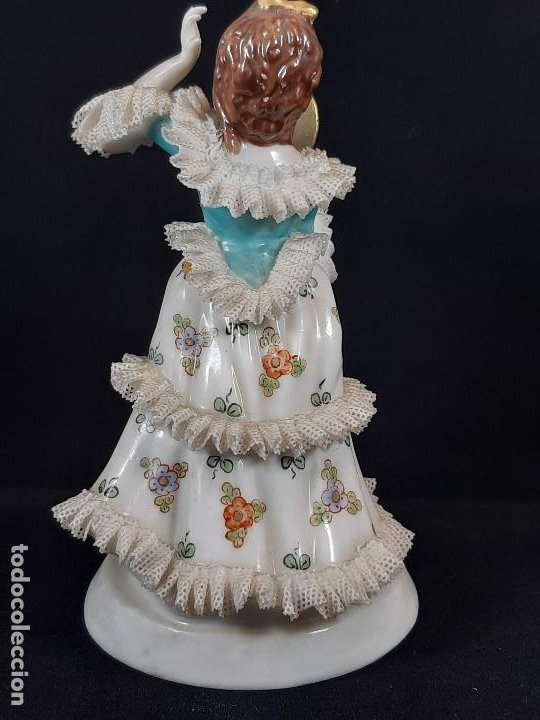 Antigüedades: Bailarina. Porcelana. Vestido puntillas. Dresden. Alemania. Siglo XIX-XX. - Foto 3 - 195814425