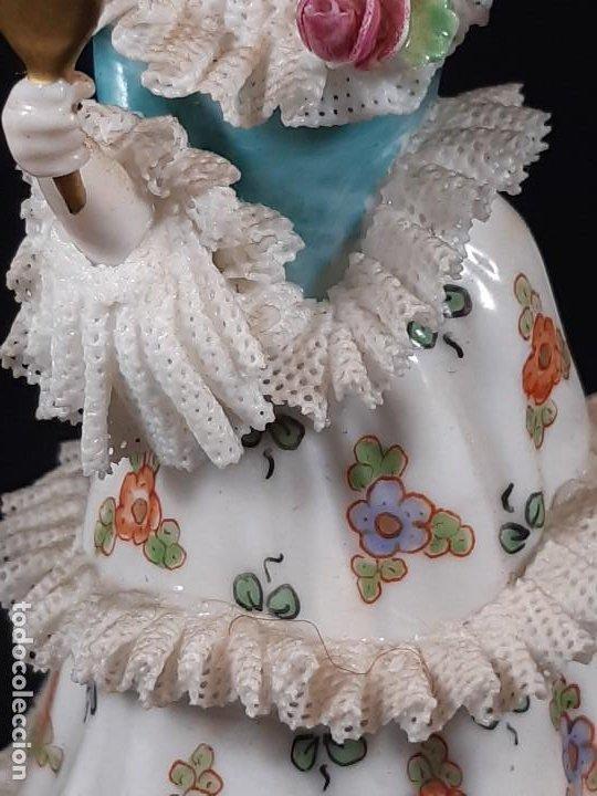 Antigüedades: Bailarina. Porcelana. Vestido puntillas. Dresden. Alemania. Siglo XIX-XX. - Foto 6 - 195814425