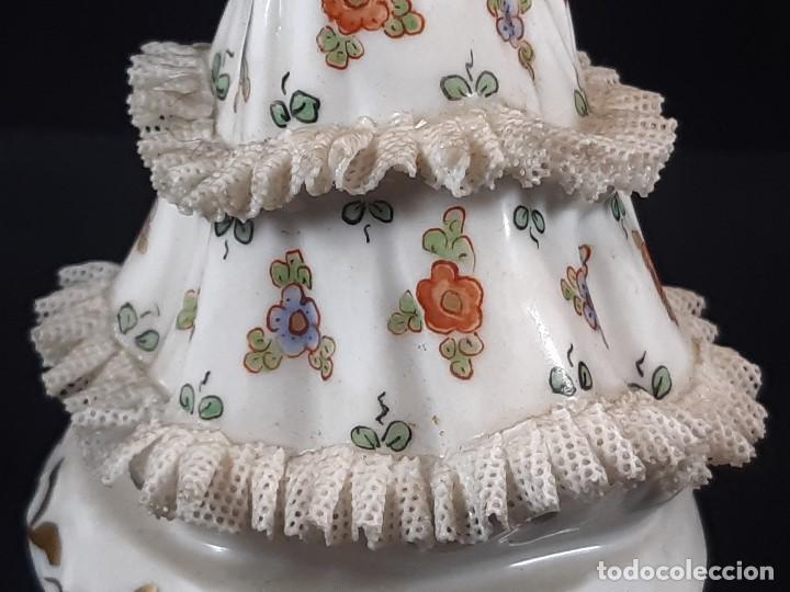 Antigüedades: Bailarina. Porcelana. Vestido puntillas. Dresden. Alemania. Siglo XIX-XX. - Foto 8 - 195814425