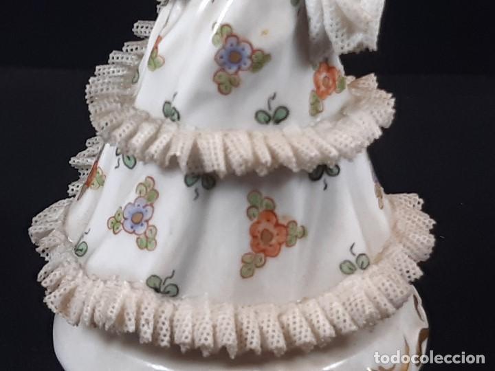 Antigüedades: Bailarina. Porcelana. Vestido puntillas. Dresden. Alemania. Siglo XIX-XX. - Foto 12 - 195814425