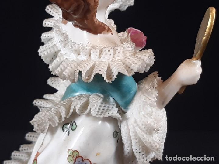 Antigüedades: Bailarina. Porcelana. Vestido puntillas. Dresden. Alemania. Siglo XIX-XX. - Foto 13 - 195814425